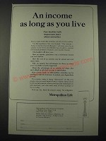 1965 Metropolitan Life Insurance Ad - An Income as Long as You Live