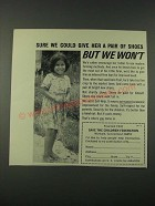 1965 Save the Children Federation Ad - We Could Give Her a Pair of Shoes