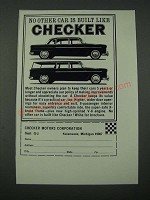 1965 Checker Cars Ad - No Other Car is Built Like Checker