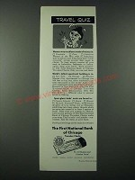 1963 First National Bank of Chicago Travelers Checks Ad - Travel Quiz