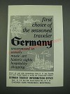 1961 Germany Tourism Ad - First Choice of the Seasoned Traveler