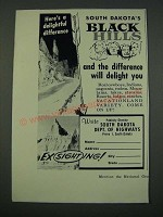 1960 South Dakota Tourism Ad - Here's a Delightful Difference