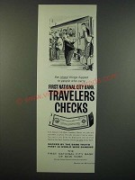 1959 First National City Bank Travelers Checks Ad - cartoon by William Steig