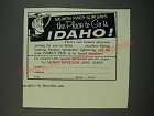 1956 Idaho Tourism Ad - Salmon River Slim Says The Place to Go is Idaho