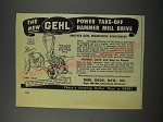 1952 Gehl Power Take-Off Hammer Mill Drive Ad