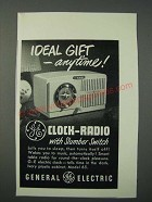 1949 General Electric Clock-Radio Model 65 Ad - Ideal Gift Anytime
