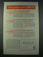 1948 Metropolitan Life Insurance Ad - 3 Lines of Defense Against Cancer