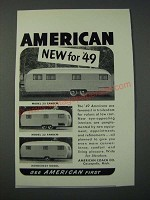 1948 American Coach Co. Trailers Ad - 25 Tandem, 22 Tandem, Homecrest Model