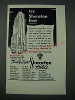1948 Pittsburgh Sheraton Hotel Ad - Try Sheraton First