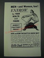 1948 Battle Creek Eqiupment Co. Exerow Exercise Machine Ad - Men and Women