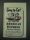 1948 American Express Travelers Cheques Ad - Going by Car?