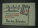 1948 Sheraton Belvedere Hotel Ad - The Food Is Marvelous!