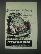 1947 Movado Watch Ad - Sheltered From the Elements