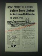 1946 Southern Pacific Railroad Ad - Golden State Limited to Arizona-California