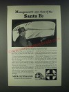 1946 Santa Fe Railroad Ad - Management's-Eye-View of the Santa Fe