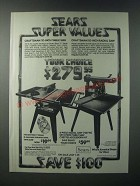 1979 Sears Craftsman 10-Inch Table Saw and 10-inch Radial Saw Ad