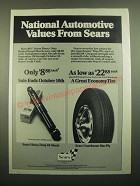 1980 Sears Heavy Duty 48 Shock and Guardsman Bias-Ply Tire Ad