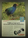 1982 Canon New F-1 Camera and FD 500mm f/4.5L Lens Ad - Takahe