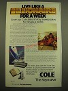 1982 Cole Keys Ad - Live Like a Billionaire for a Week