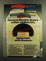 1983 Bounce Dryer Sheets Ad - General Electric Dryers Soften