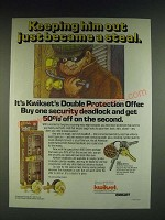 1985 Kwikset Security Deadlock Ad - Keeping him out just became a steal