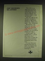 1985 Federal Crop Insurance Corp. Ad - Crop insurance, we listened