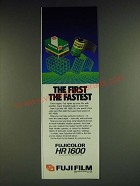 1985 Fuji Film HR1600 Film Ad - The first the fastest