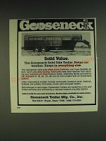 1985 Gooseneck Solid Side Trailer Ad - Solid Value