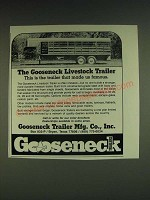 1985 Gooseneck Livestock Trailer Ad - This is the trailer that made us famous