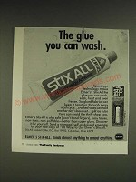 1985 Elmer's Stix-All Adhesive Ad - The glue you can wash