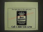 1985 Best Western Motel Ad - The right place at the right price