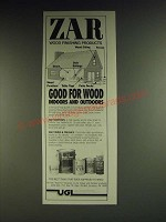 1984 UGL Zar Rainstain, Stains & Finishes Ad - Zar wood finishing products