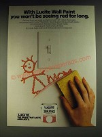 1984 Lucite Wall Paint Ad - With Lucite Wall Paint you won't be seeing red