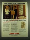 1983 Radio Shack ET-350A Cordless Handset Phone Ad - walk-and-talk