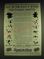 1932 Remington Palma Match Cartridges Ad - All in the Day's Work for Palma Match