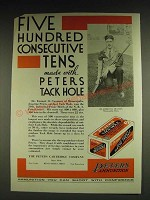1932 Peters Outdoor Tack Hole Ammunition Ad - Five Hundred consecutive tens