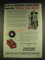 1932 Peters Outdoor Tack Hole Ammunition Ad - Herbert C. Nielsen