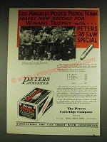 1932 Peters Rustless Ammunition Ad - Los Angeles Police Pistol Team