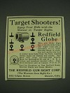 1932 Redfield Globe Gun Sight Ad - Target Shooters!