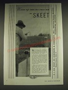 1933 Du Pont Sporting Powders Skeet Ad - Warm up your pet field gun at Skeet