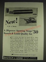 1933 Bausch & Lomb Spotting Scope Ad - New! N.R.A. Model 20-power