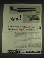 1933 Bausch & Lomb Spotting Scope Ad