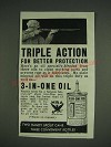 1933 3-in-One Oil Ad - Triple Action for better protection