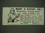 1933 Franklin Institute Ad - Want a steady job? Work for Uncle Sam