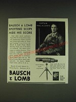 1934 Bausch & Lomb Prism Model Spotting Scope Ad - Captain Paul A. Curtis