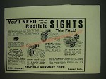 1934 Redfield Sights: Globe, Target, Hunting, Micrometer Ad - You'll need one