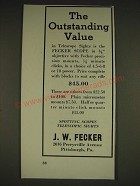 1934 J.W. Fecker scopes Ad - The outstanding value
