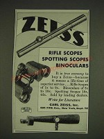 1934 Zeiss Rifle Scopes, Spotting Scopes and Binoculars Ad