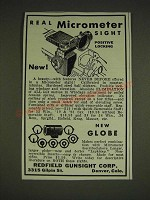 1934 Redfield Micrometer Sight Ad - Real Micrometer sight positive locking