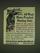 1934 Woolrich Hunting Suits Ad - All Wool Water-Proofed, Hunting Suits